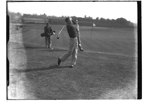 Hector Thomson at the 2nd Tee, the Old Course, British Amateur Golf Championships, 1936, St Andrews.