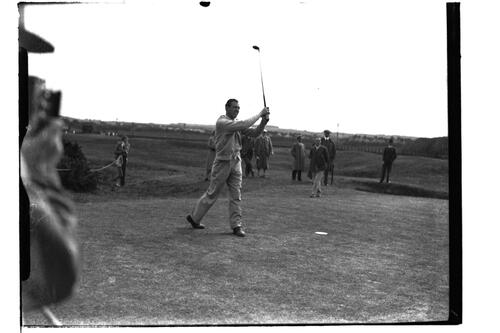 J Morton Dykes (Troon) drives off from tee in the British Amateur Golf Championships at St Andrews.