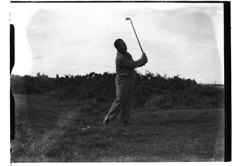 Risden PWL teeing off on the Old Course, British Amateur Golf Championships, 1936, St Andrews.