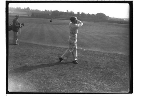 Golfer teeing off at 2nd Tee of the Old Course, British Amateur Golf Championships, 1936, St Andrews.