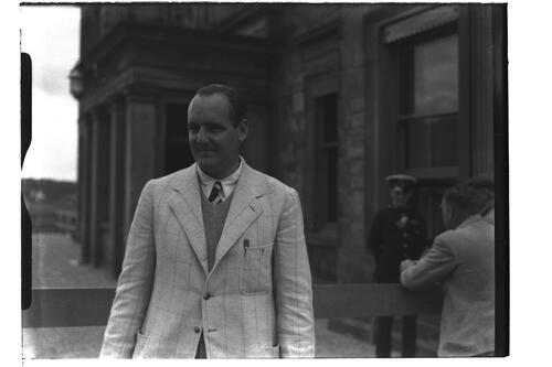 Cecil Ewing (Ireland) before the Royal and Ancient Golf Clubhouse, British Amateur Golf Championships, 1936, St Andrews.