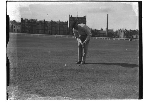 Luis Arana (Portugal) putting on the Old Course, British Amateur Golf Championships, 1936, St Andrews.