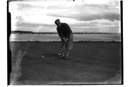 Cyril Tolley (R&A) putting on the Old Course, British Amateur Golf Championships, 1936, St Andrews.