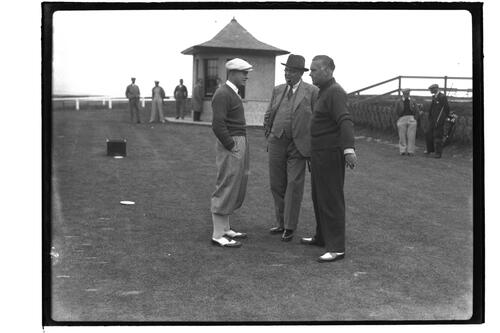 The finalists, Jim Ferrier (Australia) and Hector Thomson at the 1st Tee, the Old Course, British Amateur Golf Championships, 1936, St Andrews.