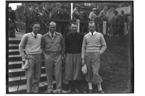 Golfers standing beside the steps outside the R&A Clubhouse, St Andrews, The British Amateur Championship, 1936.