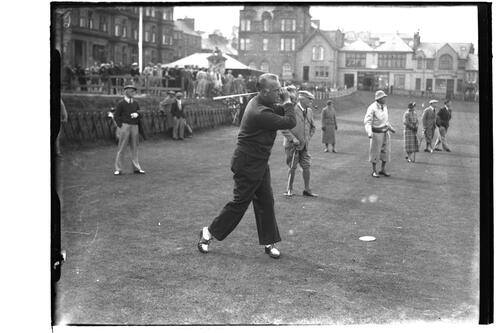 Cyril Tolley (R&A and Sunningdale) tees off from the 1st Tee, the Old Course, St Andrews, The British Amateur Championship, 1936.