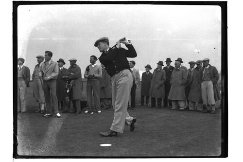 A golfer tees off on the Old Course, St Andrews, The British Amateur Championship, 1936.