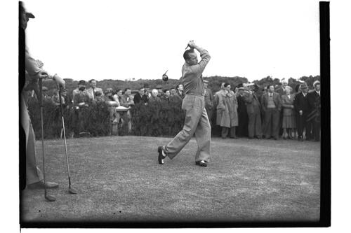 Ossie Pickworth (Australia) at the Open Championship, Troon 1950.