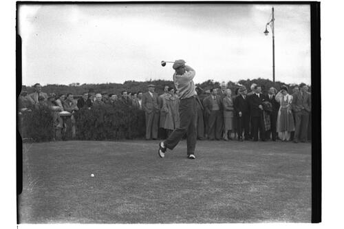 Frank Stranahan, (USA) at the Open Championship, Troon 1950.