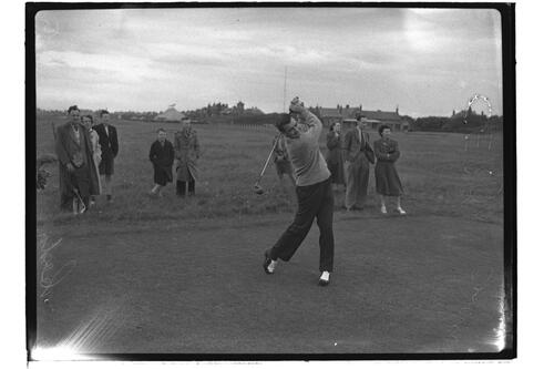 Anton Cerda (Argentina) at the Open Championship, Troon 1950.