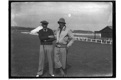 Two golfers at the British Amateur Golf Championship, St Andrews 1936.