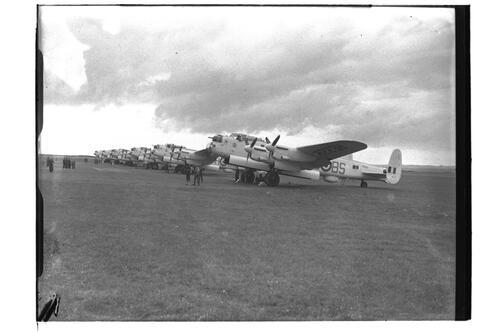 Lancaster G3 airplanes lined up, 120 Squadron preparing to leave for Canada, RAF Leuchars.