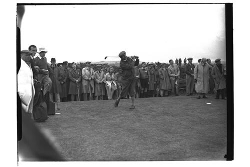 Golfer tees off on the OLd Course, the Open Championship, St Andrews 1939.