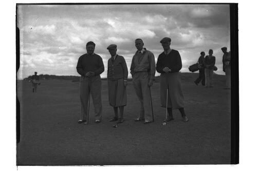 Four golfers at the Open Championship, St Andrews 1939.