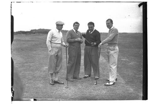 Four golfers on the Old Course, the Open Championship, St Andrews 1939.
