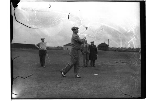 Chick (Charles) Evans (USA) practising driving, the British Amateur Championship, St Andrews.