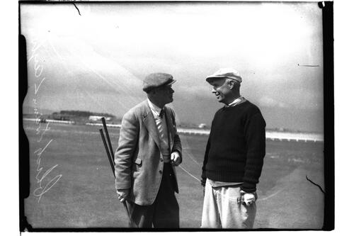L B Ayton (St Andrews) and Chick Evans (USA), the British Amateur Championship, St Andrews.