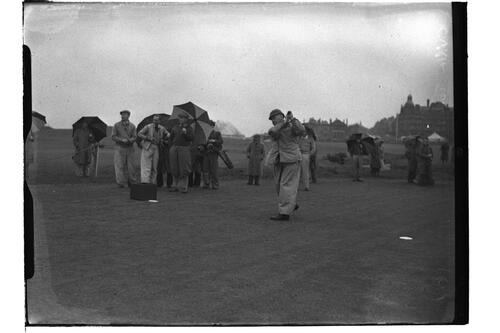 Cyril Tolley (R&A) teeing off on the Old Course, British Amateur Championship, St Andrews.
