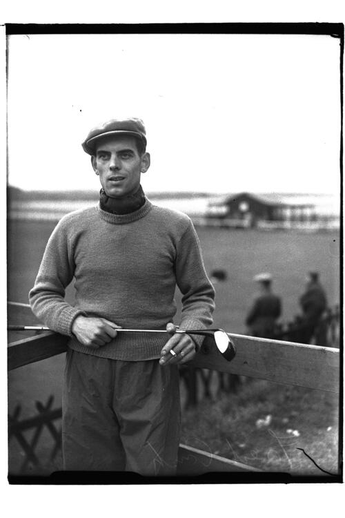 Fred Crisp (St Andrews) beside the Old Course, British Amateur Championship, St Andrews.