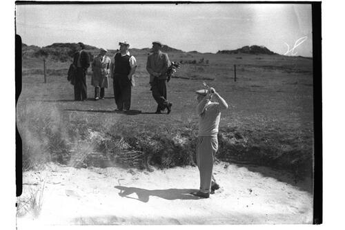 Francis Ouimet plays out of a bunker on the Old Course, British Amateur Championship, St Andrews.