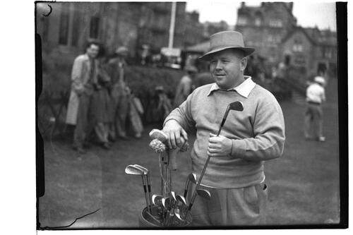Bill Goodloe on the Old Course before the R&A Clubhouse, the British Amateur Championship, St Andrews.