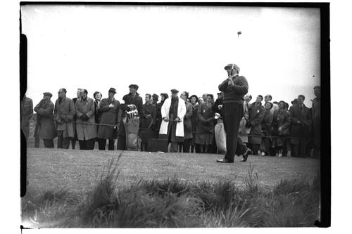 McCredie teeing off on the Old Course, the British Amateur Championship, St Andrews.