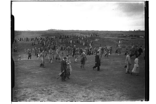 Crowds walking the course at the British Amateur Championship, Troon.