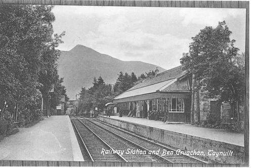Railway Station and Ben Cruachan, Taynuilt