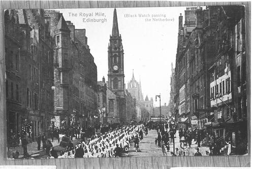 The Royal Mile, Edinburgh (Black Watch passing the Netherbow),