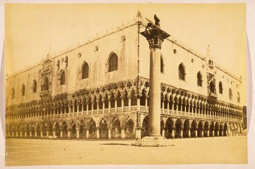 St Mark's Column and the Doge's Palace, Piazzetta, Venice.