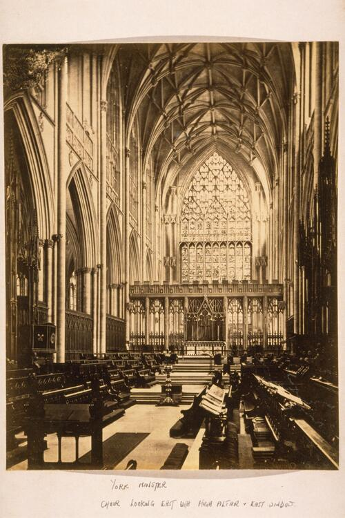 York Minster Choir looking east with High Altar and East window, York.