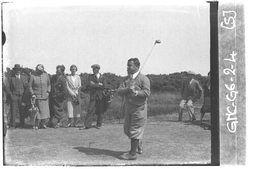 Golfer teeing off on the Old Course, the Open Championship, St Andrews,1933