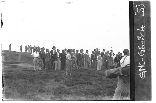 Golfer in the rough on the Old Course, the Open Championship, St Andrews 1933