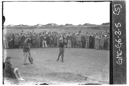 Golfer tees off on the Old Course, the Open Championship, St Andrews 1933
