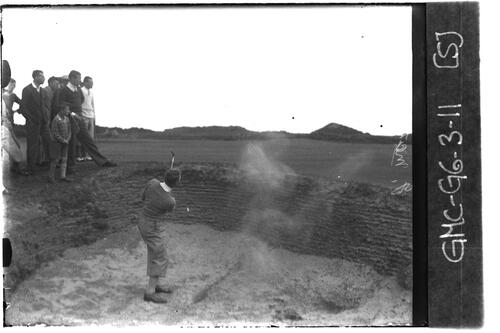 Jack MacLean in a bunker on the Old Course, the Open Championship, St Andrews 1933