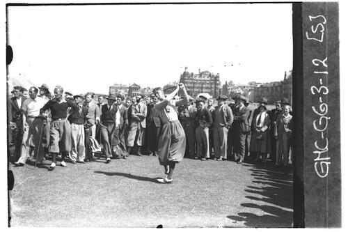 Allan Daily tees off at the 2nd Tee on the Old Course, the Open Championship, St Andrews 1933