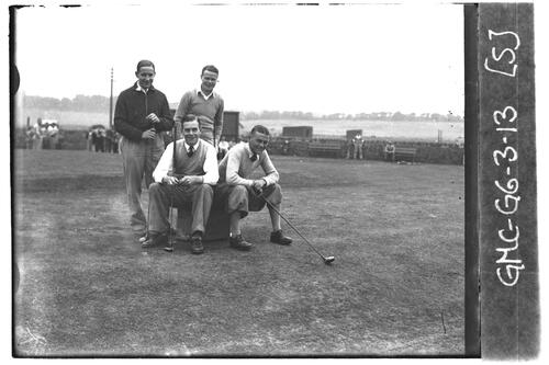 Densmore Shute and golfers on the Old Course, the Open Championship, St Andrews 1933