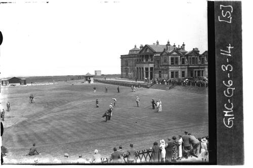 Golfers putting on the 18th Green, the Old Course, the Open Championship, St Andrews 1933