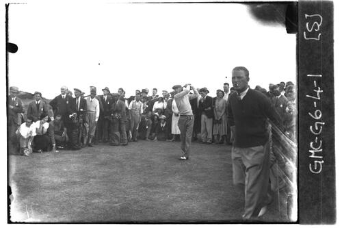 Sandy Herd tees off watched by Jack White and crowd, the Old Course, the Open Championship, St Andrews 1933
