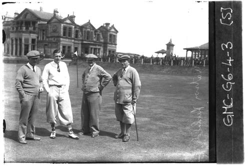 Sandy Herd, Jack White, Watson and Andra Kirkaldy at the 18th Green, the Old Course, the Open Championship, St Andrews 1933
