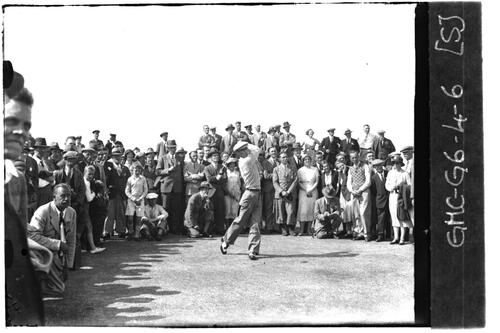 Golfer teeing off, the Open Championship, St Andrews 1933