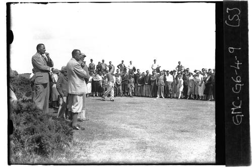 Golfer teeing off on the Old Course, the Open Championship, St Andrews 1933