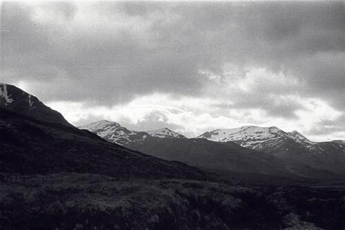 Snow on the hills, the Highlands, Scotland.