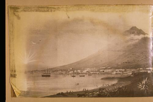 [Harbour and mountain scene].
