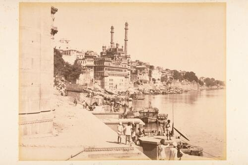 Ghats or Landing Places on the (River) Ganges - Benares [Varanasi]. Mosque with minarets of Aurangzeb (Auringzeab) Emperor.