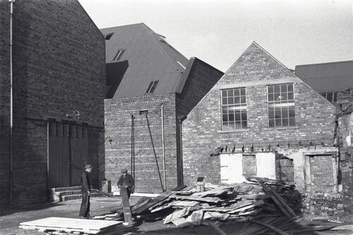 Sorting timber boards at the Paper Mills, Markinch.