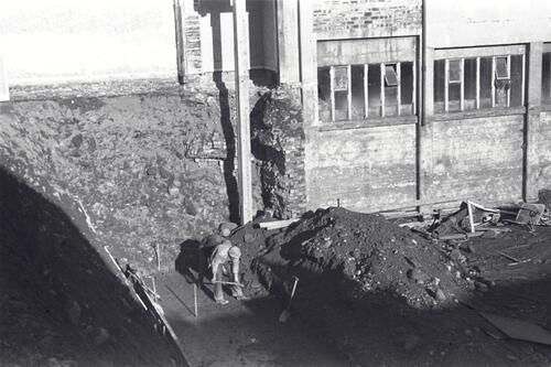 Excavating foundations, building site at the Paper Mills, Markinch.