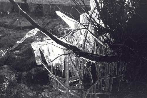 Ice at the intake, the Paper Mills, Markinch.