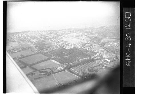 Aerial view of coastal plain near RAF Ouston.