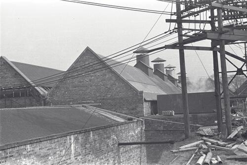 Buildings and tank at the Paper Mills, Markinch.